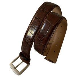 Yves Saint Laurent-Vintage printed croc leather belt-Brown
