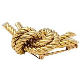 "Hermès-Hermès ""Noeud"" brooch in yellow gold.-Other"