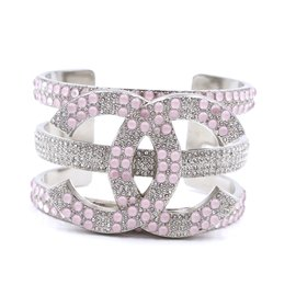 Chanel-Chanel Silver Pink CC Extra Wide Beads Crystals Cuff-Silvery