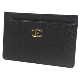 Chanel-CHANEL business card case coco mark Womens card case A11837 black x gold hardware-Black,Gold hardware