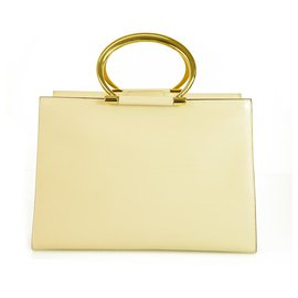 Céline-Celine Beige Glossy Leather  Square Sturdy Tote Handbag with golden ring handles-Beige