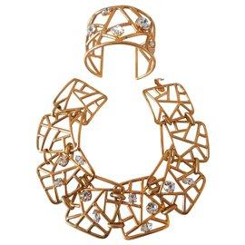 Jean Louis Scherrer-Collier et bracelet Jean-Louis Scherrer Haute Couture 1995-Doré