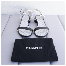 Chanel-Sandals-Black,White