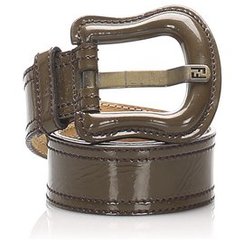 Fendi-Fendi Brown Patent Leather Belt-Brown,Dark brown