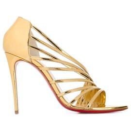 Christian Louboutin-Christian Louboutin Gold Norina 100 sandals-Golden