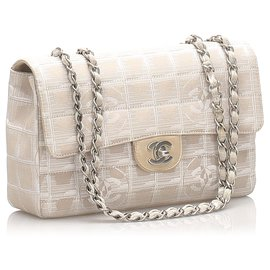 Chanel-Chanel Brown New Travel Line Nylon Single Flap Bag-Brown,Beige