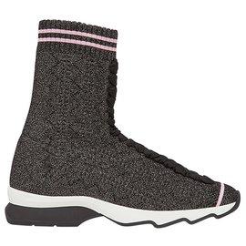 Fendi-Baskets chaussettes en tissu gris Fendi-Blanc,Gris