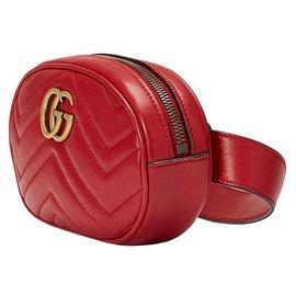 Gucci-Sac ceinture en cuir rouge Gucci GG Marmont-Rouge