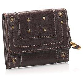 Chloé-Chloe Brown Paddington Leather Card Holder-Brown,Dark brown
