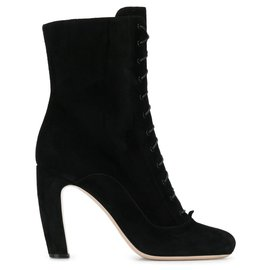 Miu Miu-Miu Miu Black Suede Lace Up Boots-Black