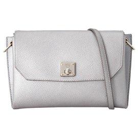 MCM-MCM Silver Leather Crossbody Bag-Silvery
