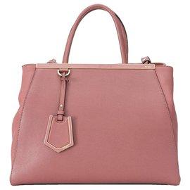 Fendi-Fendi Pink Medium 2Jours Leather Satchel-Pink