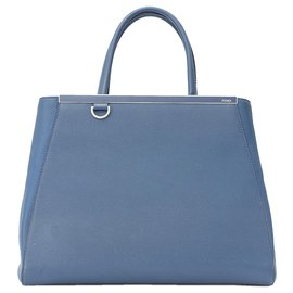 Fendi-Fendi Blue Medium 2Jours Leather Satchel-Blue