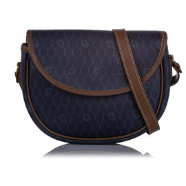 Dior-Dior Blue Honeycomb Coated Canvas Crossbody Bag-Blue,Navy blue