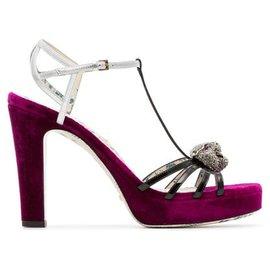 Gucci-Gucci Purple Elias Velvet Platform Sandals-Multiple colors,Purple