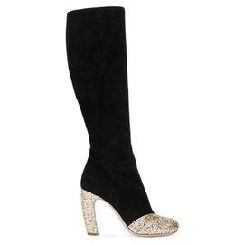 Miu Miu-Miu Miu Black Glitter Suede Boots-Black,Golden