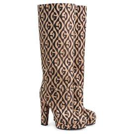 Gucci-Gucci Black G Rhombus Platform Boots-Brown,Black,Beige
