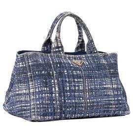 Prada-Prada White Printed Canapa Handbag-White,Blue