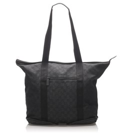 Gucci-Gucci Black GG Canvas Collapsible Tote Bag-Black