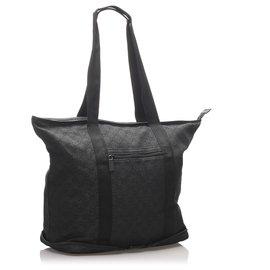 Gucci-Sac cabas pliant en toile noir GG de Gucci-Noir