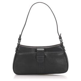 Loewe-Loewe Black Anagram Leather Baguette-Black