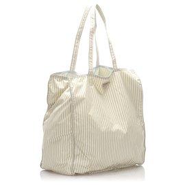 Prada-Prada White Tessuto Stampato Tote Bag-White,Other,Grey