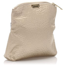 Burberry-Burberry Brown Textured Fabric Fold Over Clutch Bag-Brown,Beige