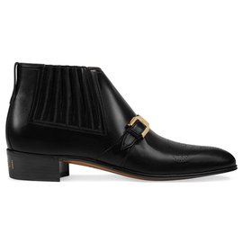 Gucci-Gucci Black G Brogue Leather Ankle Boots-Black