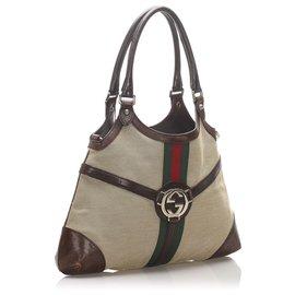 Gucci-Gucci Brown Web Reins Canvas Shoulder Bag-Brown,Black