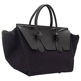 Céline-Celine Black Tie Wool Tote Bag-Black,Blue,Navy blue