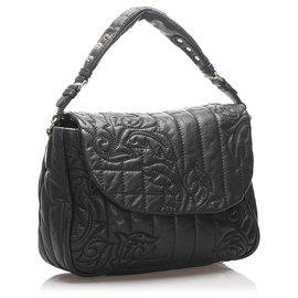 Versace-Versace Black Vanitas Leather Handbag-Black