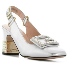 Gucci-Gucci Silver Crystal G Embellished Pumps-Silvery