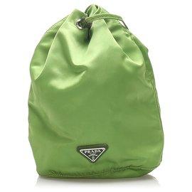 Prada-Prada Green Tessuto Drawstring Pouch-Green