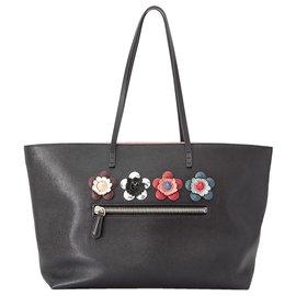 Fendi-Fendi Black Flowerland Roll Leather Tote Bag-Black,Multiple colors