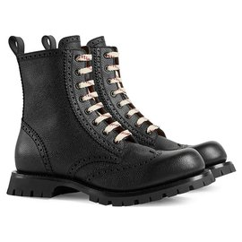 Gucci-Gucci Black Martins Ankle Leather Boots-Black,White