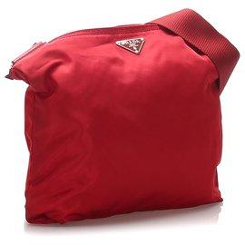 Prada-Prada Red Tessuto Crossbody Bag-Red,Dark red