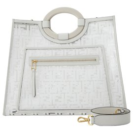 Fendi-Fendi White Zucca Runaway Shopper Satchel-White