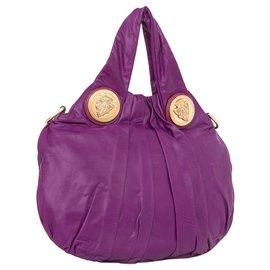 Gucci-Gucci Purple Hysteria Leather Satchel-Purple