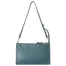 Prada-Prada Blue Etiquette Leather Shoulder Bag-Blue,Turquoise