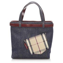 Burberry-Burberry Blue Denim Handbag-Red,Blue,Other