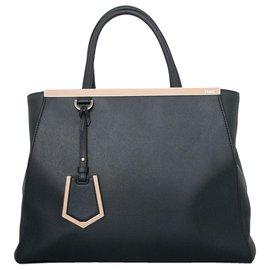 Fendi-Fendi Black Medium 2Jours Leather Satchel-Black