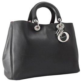 Dior-Dior Black Medium Diorissimo Leather Handbag-Black
