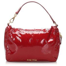 Miu Miu-Miu Miu Red Patent Leather Handbag-Red