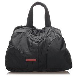 Prada-Prada Black Sports Nylon Travel Bag-Black,Red