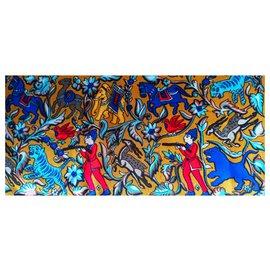 Hermès-Hermès shawl 135cm-Blue