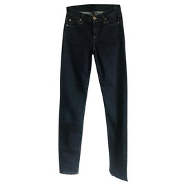 7 For All Mankind-high waisteded skinny jeans-Dark blue