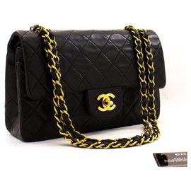 """Chanel-Chanel 2.55 à double rabat 9""""Sac à bandoulière en chaîne Agneau noir-Noir"""