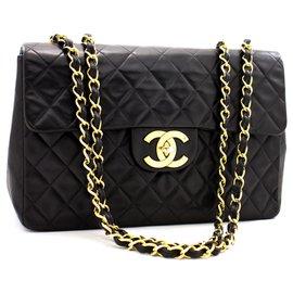 """Chanel-Chanel Jumbo 13""""Maxi 2.55 Sac à bandoulière à rabat en cuir d'agneau noir-Noir"""