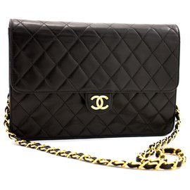 Chanel-CHANEL Chain Shoulder Bag Clutch Black Quilted Flap Lambskin Purse-Black