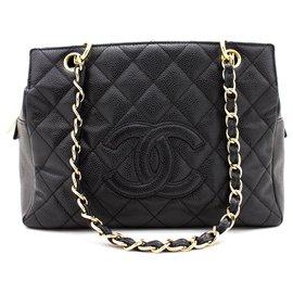 Chanel-CHANEL Caviar Chain Sac à bandoulière Shopping Tote Black Quilted Purse-Noir